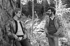 "Harrison Ford chats with George Lucas between setups. | Check Out These Unseen Pictures From The Set Of ""Return Of The Jedi"""