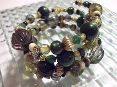 Chunky Green Gold Recycled Vintage Bead Wrap Bracelet by mscenna, $15.00