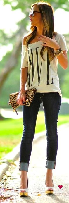 Love off the shoulder tee with heels and skinnies