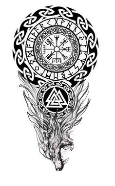 Viking Tribal Tattoos, Viking Tattoos For Men, Viking Warrior Tattoos, Viking Tattoo Sleeve, Wolf Tattoo Sleeve, Norse Tattoo, Viking Tattoo Design, Celtic Tattoos, Tattoo Sleeve Designs