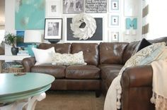 living room color palette with dark brown couch