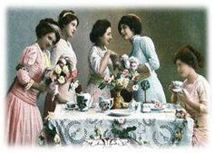Beautiful ladies drinking tea