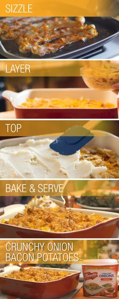 Try our new favorite recipe and give your holiday sides a flavorful crunch. Creamy potatoes, crunchy onions, melted cheese and sizzling bacon are sure to make this casserole disappear faster than you can whip up a second batch. It's not hard to see why this layered Crunchy Onion Bacon Potatoes casserole is a delicious and irresistible addition to your holiday menu.