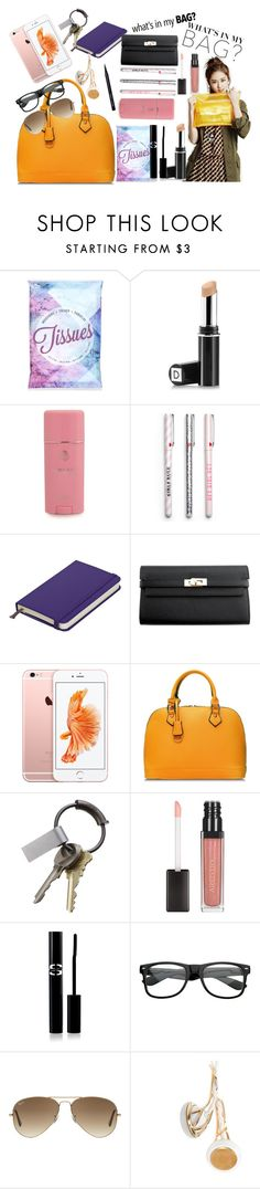"""""""The essentials in my bag!"""" by boruahanima ❤ liked on Polyvore featuring Topshop, Dermablend, Versace, Hermès, CB2, Sisley Paris, Ray-Ban, Frends, Bobbi Brown Cosmetics and contest"""