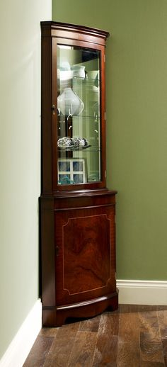 Reproduction Bow Corner Display Cabinet