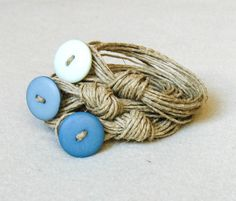 Wrap Stacked Fiber Bracelet Natural Linen Cord by totalhandmadeD