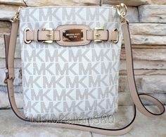 MICHAEL KORS Hamilton Vanilla Monogram Large Crossbody Bag *NWT* PVC Leather