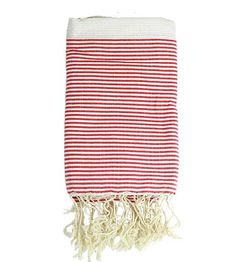 Hammam Towel - White with Thin Red Stripes - Brook Farm General Store