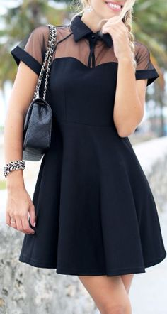 Sheer Collar Skater Dress <3 #lbd  Add a white thin belt to complete the look! :)