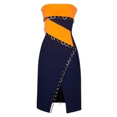 MUGLER Bonded Tailor Navy Blue And Neon Orange Dress ❤ liked on Polyvore featuring dresses, orange strapless dress, straight dress, blue cocktail dresses, strapless dresses and orange dress