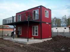 Cargo Container Homes With Red Door