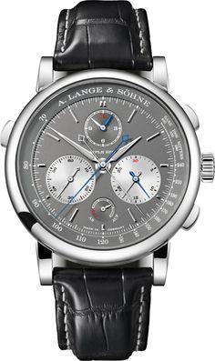Den einzigen Schleppzeiger-Chronographen der Welt, der Additions- und Vergleichszeiten bis zu einer Dauer von zwölf Stunden messen kann, stellt A. Lange & Söhne vor. Mit einem exakt springenden Rattrapante-Minutenzähler und einem kontinuierlichen Rattrapante-Stundenzähler erweitert der Triple Split den Messbereich der Rattrapante-Funktion der 2004 vorgestellten Double Split um das 24-Fache. [3680] #uhr #watch #wristwatch #chronograph #luxury #luxurywatches