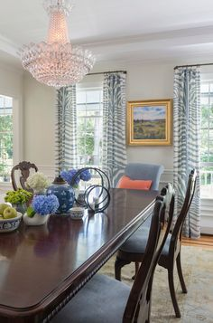 the blue zebra drapes are such a fun twist with all the traditional elements in the room. Interior Design Ideas