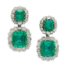 Antique Emerald Diamond Earrings | From a unique collection of vintage dangle earrings at https://www.1stdibs.com/jewelry/earrings/dangle-earrings/
