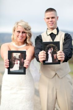 parents wedding day pictures; bride and groom