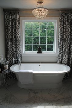 Karen Viscito Interiors, Freestanding Tub, Soaker Tub, Trellis Curtains, Crystal Chandelier, DSC_0109 by My-Portfolio, via Flickr