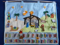 Hand made Advent Calendar for counting down the 24 days to Christmas, will be a cherished family heirloom.   #nativity #advent #Christmas https://www.etsy.com/listing/213134604/nativity-advent-calendar-counting-the