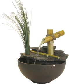 Eternity Bamboo and Leaf Tabletop Fountain