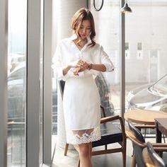 J40829 Autumn Korean fashion pure color loose long shirt
