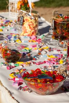Will be having a candy bar/4th of July favors table' -This is similar candy and set up for candy bar. -Confirmed