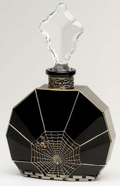 """HOFFMAN - AUSTRIA Perfume bottle of black and clear crystal with spider motif metalwork. c. 1920s. Metal stamped Austria. 7 1/4"""""""