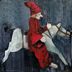 Marianna Katsoulidi, Clown riding horse, 2011, mixed media on canvas,140 x 140 cm   Human Toys Collection (http://www.dlfineartsgallery.com/exhibit/%CE%BC%CE%B1%CF%81%CE%B9%CE%B1%CE%BD%CE%BD%CE%B1-%CE%BA%CE%B1%CF%84%CF%83%CE%BF%CF%85%CE%BB%CE%B9%CE%B4%CE%B7-marianna-katsoulidi/cQIyVXWubIaTJw)