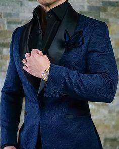 S by Sebastian Navy Blue & Black Paisley Dinner Jacket Wedding Dress Men, Wedding Men, Wedding Suits, Indian Men Fashion, Mens Fashion Suits, Mens Suits, Womens Fashion, Designer Suits For Men, Party Suits
