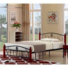Posteľ s roštom tmavý dub/čierny kov 140x200 MAGENTA Magenta, Metal, Modern, Furniture, Home Decor, Vest Coat, House, Trendy Tree, Decoration Home