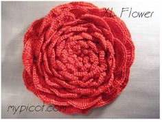 ergahandmade: Crochet XL Flower + Diagram + Free Pattern Step By Step