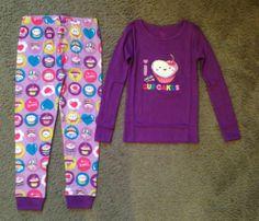 New The Children Place Cupcake Cotton Pajamas Set Purple Size 6 NIP TCP