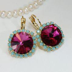 Pink Turquoise Crystal Earrings Fuchsia Aqua Drop Earring Swarovski Crystal Turquoise Fuchsia Earrings 14mm Aqua Halo,Gold,Fuchsia,GE110