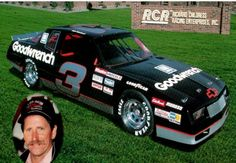 Richard Childress Racing/ Dale Earnhardt postcard featuring the silver numbered GM Goodwrench Chevrolet Monte Carlo Aerocoupe