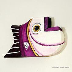 Fish Art Painted Wood Original