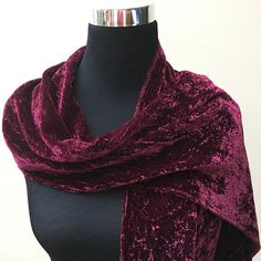 $39.50 This elegant hand dyed plum colored velvet scarf shimmers beautifully in the light. Its softness and warmth make it a perfect accessory.