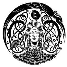Frigga Norse Goddess, Norse Pagan, Goddess Art, Norse Mythology, Viking Symbols, Viking Art, Viking Woman, Runes Of Magic, Pagan Tattoo