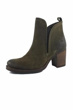 """A distressed suede and waterproofed finish, and stacked heel toughen up a standby Chelsea boot fashioned with covered elastic-gore insets to ensure a custom fit.Features a pull-on style and arubber sole.    Approx. Measures: 3"""" heel, .50"""" platform, 4"""" shaft.   Belfield Chelsea Boot by Bos & Co.. Shoes - Booties - Heeled Edmonton, Canada"""