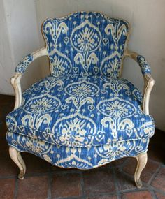 Vintage French Bergere Chair with Kaufman Ikat Fabric