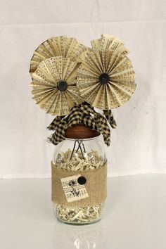 Shabby Chic Burlap and Songbook Flower Bouquet by inhis2hands, $25.00