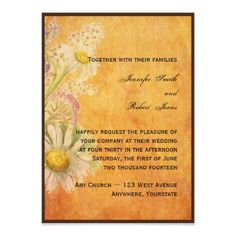 Rustic Watercolor Daisies on Parchment Invitation