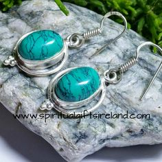 Turquoise Gemstone Crystal Sterling Silver Earrings