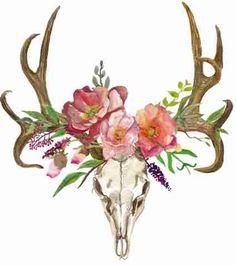 Bohemian Art Boho Deer Deer Skull with Flowers by ElegantPrintUS