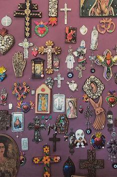 Trust your heart if the seas catch fire. Yoga Studio Design, Deco Studio, Cross Art, Wall Crosses, Mexican Folk Art, Sacred Heart, Religious Art, Wall Collage, Room Inspiration