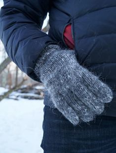 Men's Mohair Gloves Mittens With Fingers, Hand Knitted Winter Fingered Men's Gloves, Wool & Mohair Fluffy Down Gloves Simple Warm Minimalist Mitten Gloves, Mittens, Mens Gloves, Grey Gloves, Stay Warm, Warm And Cozy, Hand Knitting, Knitting Socks, Hand Spinning