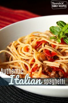 Nick s Authentic Italian Spaghetti comes straight from Italy. Tomatoes, basil, onions, and carrots flavor the two kinds of meat to make the perfect sauce! via favfamilyrecipz Italian Spaghetti Recipe, Best Spaghetti, Spaghetti Recipes, Pasta Recipes, Cooking Recipes, Best Italian Recipes, New Recipes, Favorite Recipes, Healthy Recipes