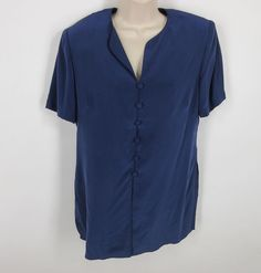 271ca6ebe73 Adrianna Papell Silk Blouse 10 Blue Purple Short Sleeve Button Lined Tunic  Top  AdriannaPapell