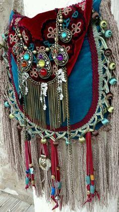 Handmade Velvet Fringe Bag Gypsy Hippie Boho Hobo Ibiza Festival Purse tmyers