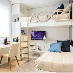 """Fantastic """"bunk bed designs space saving"""" info is available on our internet site. Take a look and you wont be sorry you did. Small Room Design, Home Room Design, Kids Room Design, Bedroom Loft, Dream Bedroom, Bedroom Decor, Girls Bedroom, Bunk Bed Rooms, Modern Bedroom"""