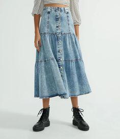 Saia Midi Jeans com Botões Frontais e Babados Azul All Jeans, Shirt Dress, Blue, Dresses, Products, Fashion, Denim Button Up, Front Button, Ruffles