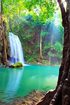 Waterfall in Erawan National Park,Thailand: