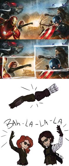 I get why Widow's like that, what with her Bites, but what's Bucky's excuse?? It's not like his arm has a rocket launcher.